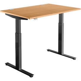 Schäfer Shop Select Schreibtisch DRIVE UP 1, elektrisch höhenverstellbar, Rechteck, T-Fuß, B 1200 x T 800 x H 700-1200 mm, Buche/schwarz