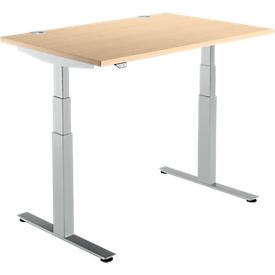 Schäfer Shop Select Schreibtisch DRIVE UP 2, elektrisch höhenverstellbar, Rechteck, T-Fuß, B 1200 x T 800 x H 630-1290 mm, Ahorn/weißaluminium
