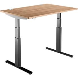 Schäfer Shop Select Schreibtisch DRIVE UP 2, elektrisch höhenverstellbar, Rechteck, T-Fuß, B 1200 x T 800 x H 630-1290 mm, Kirsche Romana/schwarz