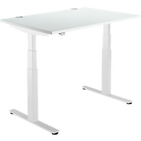 Schäfer Shop Select Schreibtisch DRIVE UP 2, elektrisch höhenverstellbar, Rechteck, T-Fuß, B 1200 x T 800 x H 630-1290 mm, lichtgrau/weiß