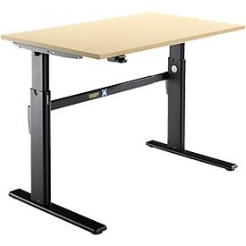 Schäfer Shop Select Schreibtisch, elektrisch höhenverstellbar, Rechteck, C-Fuß, B 1200 x T 800 x H 725-1185 mm, Ahorn/schwarz