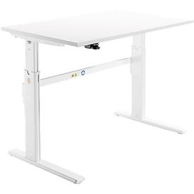 Schäfer Shop Select Schreibtisch, elektrisch höhenverstellbar, Rechteck, C-Fuß, B 1200 x T 800 x H 725-1185 mm, weiß