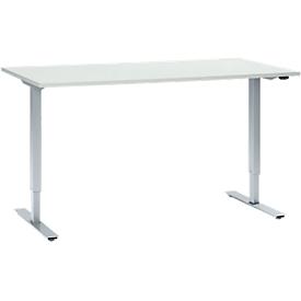 Schäfer Shop Select Schreibtisch, elektrisch höhenverstellbar, Rechteck, T-Fuß, B 1600 x T 800 x H 705-1205 mm, lichtgrau/weißaluminium