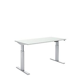 Schäfer Shop Select Schreibtisch, elektrisch höhenverstellbar, Rechteck, T-Fuß, B 1600 x T 800 x H 725-1195 mm, lichtgrau/alusilber