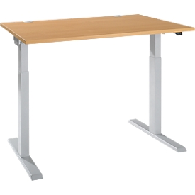 Schäfer Shop Select Schreibtisch ERGO-T 2.0, elektrisch höhenverstellbar, Rechteck, T-Fuß, B 1200 x T 800 x H 715-1205 mm, Buche/weißalu