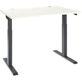 Schäfer Shop Select Schreibtisch ERGO-T 2.0, elektrisch höhenverstellbar, Rechteck, T-Fuß, B 1200 x T 800 x H 715-1205 mm, weiß/anthrazit