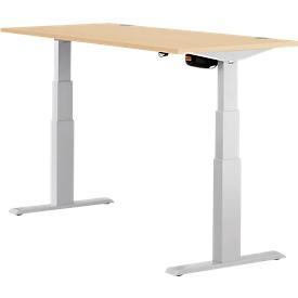 Schäfer Shop Select Schreibtisch ERGO-T, elektrisch höhenverstellbar, Rechteck, T-Fuß, B 1200 x T 800 x H 640-1300 mm, Ahorn/weißaluminium