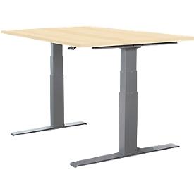 Schäfer Shop Select Schreibtisch LOGIN, elektrisch höhenverstellbar, Rechteck, T-Fuß, B 1200 x T 800 x H 645-1290 mm, Ahorn/weißaluminium