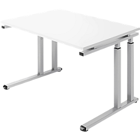 Schäfer Shop Select Schreibtisch SET UP, C-Fußgestell, 1200x800, weiß/weißalu