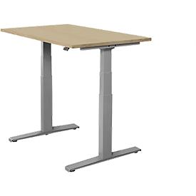 Schäfer Shop Select Schreibtisch SET UP, elektrisch höhenverstellbar, Rechteck, T-Fuß, B 1200 x T 800 x H 645-1290 mm, Eiche/weißaluminium