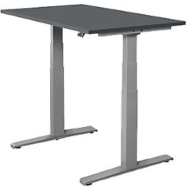 Schäfer Shop Select Schreibtisch SET UP, elektrisch höhenverstellbar, Rechteck, T-Fuß, B 1200 x T 800 x H 645-1290 mm, graphit/weißaluminium
