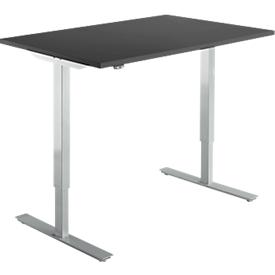 Schäfer Shop Select Schreibtisch Start Up, elektrisch höhenverstellbar, Rechteck, T-Fuß, B 1200 x T 800 x H 705-1205 mm, graphit/weißalu