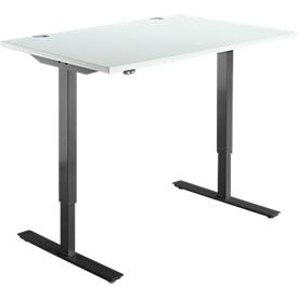 Schäfer Shop Select Schreibtisch START UP, elektrisch höhenverstellbar, Rechteck, T-Fuß, B 1200 x T 800 x H 705-1205 mm, lichtgrau/schwarz