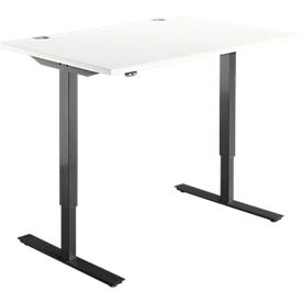 Schäfer Shop Select Schreibtisch START UP, elektrisch höhenverstellbar, Rechteck, T-Fuß, B 1200 x T 800 x H 705-1205 mm, weiß/schwarz
