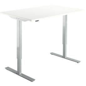Schäfer Shop Select Schreibtisch Start Up, elektrisch höhenverstellbar, Rechteck, T-Fuß, B 1200 x T 800 x H 705-1205 mm, weiß/weißalu