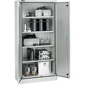 Schäfer Shop Select Schutzschrank nach IP 54, 4 Böden, B 950 x T 525 x H 1935 mm, weißaluminium RAL 9006
