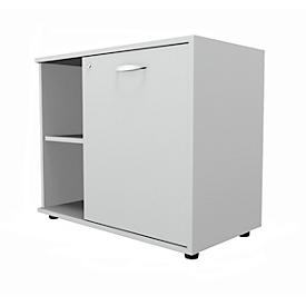 Schäfer Shop  Select Sideboard, met draaideur, afsluitbaar, spaanplaat, B 800 x D 420 x H 663 mm, rechts verstelbaar, lichtgrijs