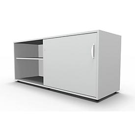 Schäfer Shop  Select Sideboard, met schuifdeur, afsluitbaar, spaanplaat, B 1600 x D 500 x H 663 mm, rechts monteerbaar, lichtgrijs