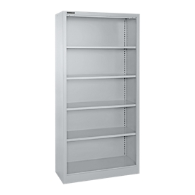 Schäfer Shop Select Stahlregal MS iCONOMY, 5 Ordnerhöhen, B 800 x T 400 x H 1935 mm, weißaluminium RAL 9006