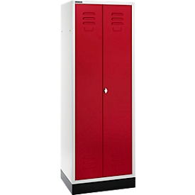 Schäfer Shop Select Taquilla, 2 puertas, con cierre de pasador giratorio, gris luminoso/rojo rubí