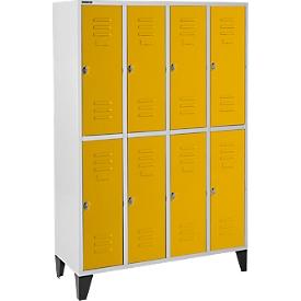 Schäfer Shop Select Taquilla, 4x2 comp., con patas, cierre de pasador giratorio, puerta amarillo