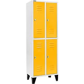 Schäfer Shop Select Taquilla, con 2 x 2 compartimentos, 300mm, con patas, cierre de pasador giratorio, puerta amarillo