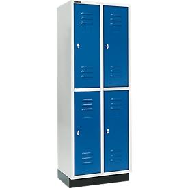 Schäfer Shop Select Taquilla, con 2 x 2 compartimentos, 300mm, con zócalo, cierre de pasador giratorio, puerta azul genciana
