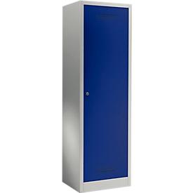 Schäfer Shop Select Taquilla EASY-WEAR, cerradura de cilindro, Al 1935mm, aluminio blanco/azul genciana RAL 9006/5010