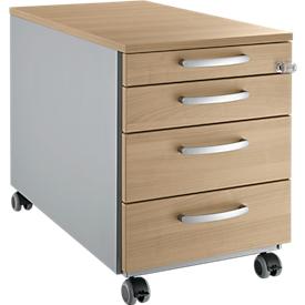 Schäfer Shop  Select Verrijdbaar ladeblok 1233, 4 schuifladen, ronde handgrepen, blank aluminium/blank aluminium/kersen Romana patroon