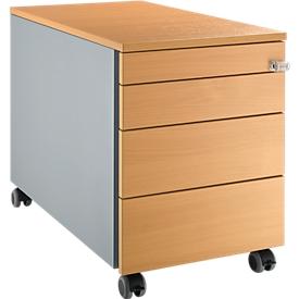 Schäfer Shop  Select Verrijdbaar ladeblok 1233, met greepuitsparing B 435 x H 567 mm, blank aluminium/blank aluminium/beukenpatroon
