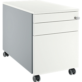 Schäfer Shop  Select Verrijdbaar ladeblok 126, met greepuitsparing blank aluminium/blank aluminium/wit