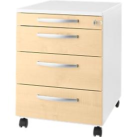 Schäfer Shop  Select Verrijdbaar ladeblok LOGIN, 3 schuifladen, 1 materiaallade, centrale vergrendeling, B 432 x D 580 x H 595 mm, wit/esdoornpatroon