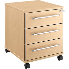 Schäfer Shop  Select Verrijdbaar ladeblok Moxxo IQ 333, 3 schuifladen, B 410 x D 495 x H 510 mm, afsluitbaar, esdoornpatroon