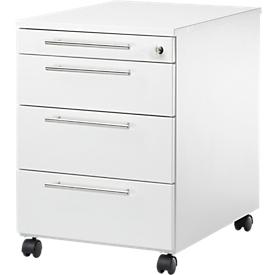 Schäfer Shop  Select Verrijdbaar ladeblok Start UP 1233, 3 schuifladen + materiaallade, afsluitbaar, B 432 x D 580 x H 595 mm, wit/wit