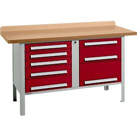 Schäfer Shop  Select Werkbank PW 150-8, lichtgrijs/rood