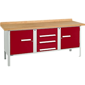 Schäfer Shop Select Werkbank PW 200-4, lichtgrau/rot
