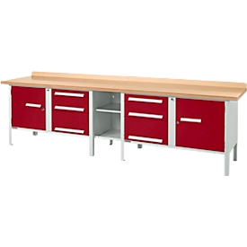 Schäfer Shop Select Werkbank PW 300-2, lichtgrau/rot
