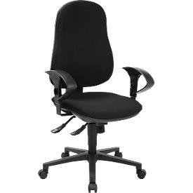 Schäfer Shop Silla de oficina Pure Support CLEAN, con reposabrazos, mecanismo sincrónico, asiento con disco intervertebral, revestimiento antibacteriano, negro