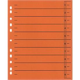 SCHÄFER SHOP Trennblätter mit Taben, DIN A4- Format, Linienaufdruck, 100 Stück, orange