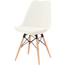 Schalenstuhl DOGEWOOD, Kunststoff, mit Holzbeinen, Sitzkissen. weiß