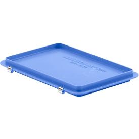 Scharnierdeksel EF-D 32 S voor Euronorm bakken, blauw