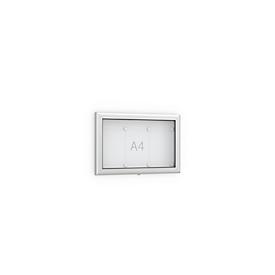 Schaukasten Softline, Querformat 3 x A4, für Innen & Außen, abschließbar, 10 Magnete & Textblende, Aluminium & ESG, Rückwand reinweiß RAL  9010