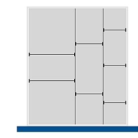 Scheidings-/insteekwand assortiment, 2 scheidingswanden, 7 insteekwanden, voor serie Verso, voor fronthoogte schuiflade 100/125 mm, H 77 mm