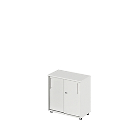 Schiebetürenschrank Start Up, 2 OH, abschließbar, B 800 x T 420 x H 744 mm, Holz, lichtgrau/lichtgrau