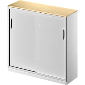 Schiebetürenschrank TETRIS SOLID, 3 OH, B 1200 x H 1170 mm, Mitteltrennwand, 19 mm Abdeckplatte, Ahorn/weißalu