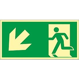 Schild Treppe abwärts, linksweisend