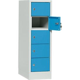 Schließfachschrank, Stahlbl., Türanschl. rechts, Zylinderschloss, 5 Fächer, B 300 x H 965 mm, l.grau RAL 7035/l.blau RAL 5012