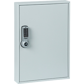 Schlüsselschrank ELO, mit 30 Haken, mit gesicherten Haken, Elektroschloss inkl. 9 V Blockbatterie, lichtgrau RAL 7035