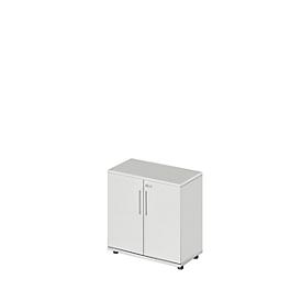 Schrank Start Up, 2 OH, abschließbar, B 800 x T 420 x H 744 mm, Holz, lichtgrau/lichtgrau