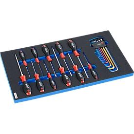 Schraubendrehersatz in Hartschaumeinlage, 20-tlg., für Schrankserie WSK, Maße 306 x 306 mm